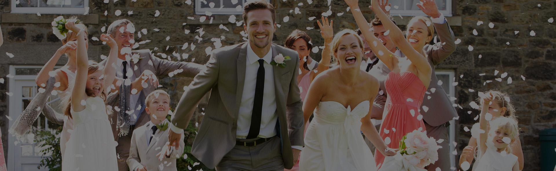 Wedding Couple Celebrating