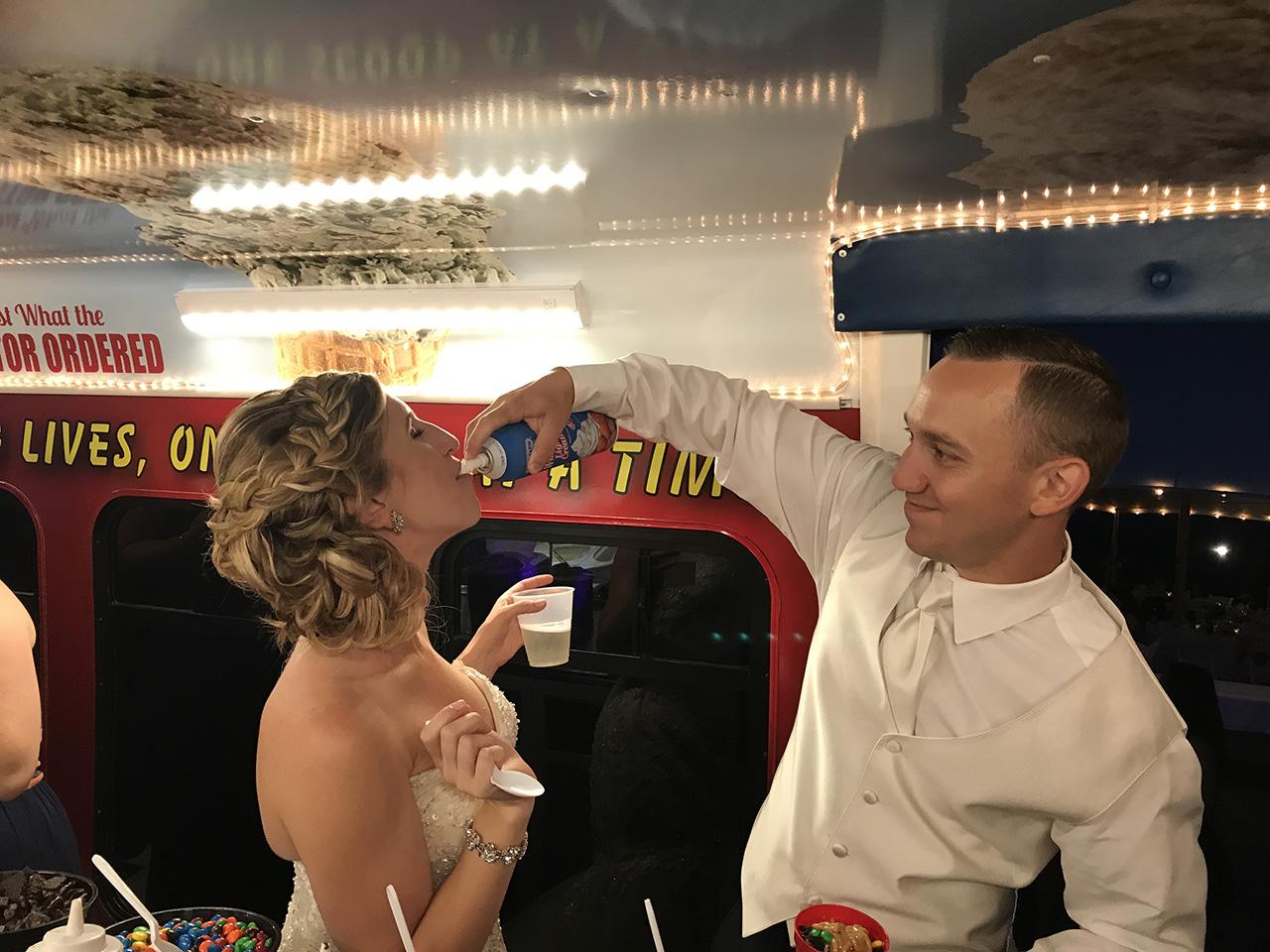 Groom and Bride Having Fun