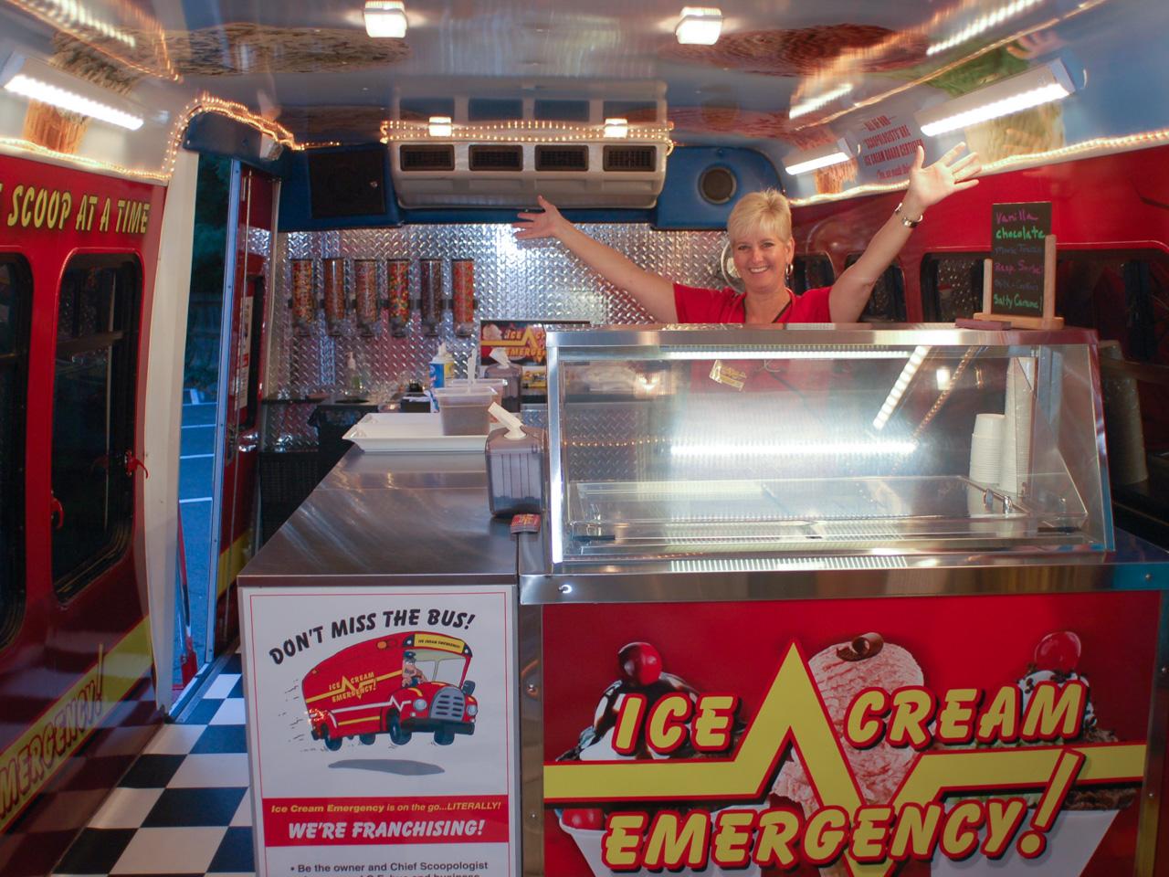 Debra Inside the Ice Cream Bus