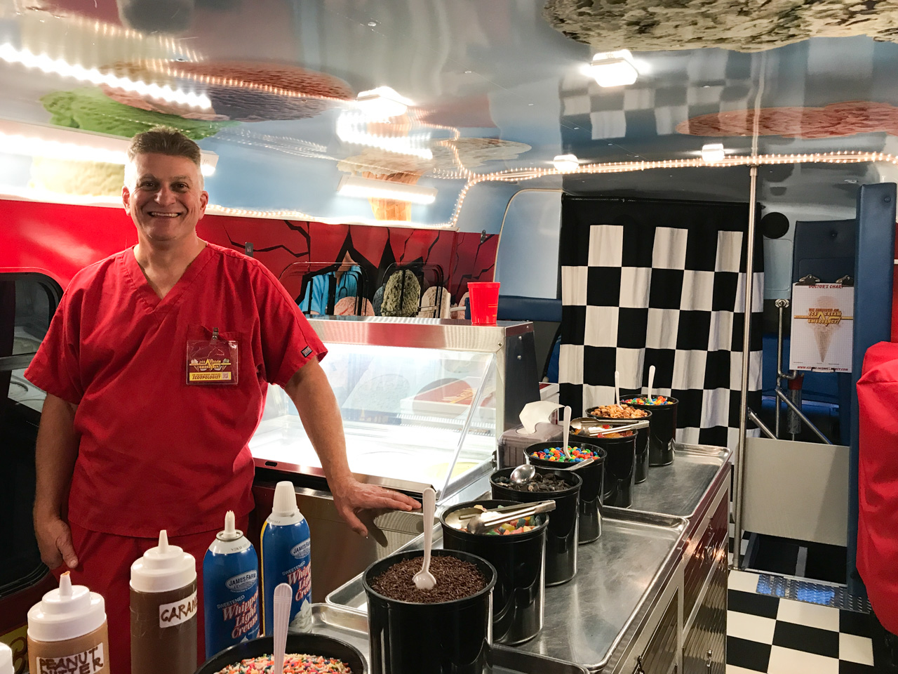 ice-Tony Waiting for Customers Inside of Ice Cream Bus